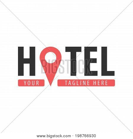 Hostel Logo. Hotel Logo. Travel Rest Place. Vector Illustration.