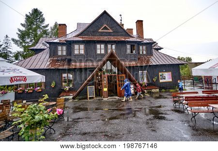 Ustron, Rownica, Poland - August 6, 2017: A View Of The Hut On T