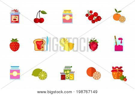 Berries and fruits icon set. Jam Jar With Paper Cherry Jam Jar With Label Red Currant Bunch Tangerine Strawberry Jam On Bread And Knife Lemon Raspberry Lime Orange Cloudberry Jam