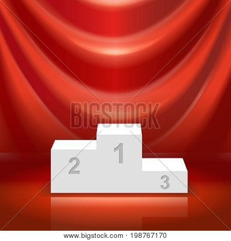 Podium for the winners and red curtain illistration