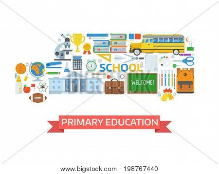 Primary education concept illustration for banner or hero image. Back to school icons. Studying and learning elements collection stylized in school-bus shape. , Stationery, equipment and appliances.