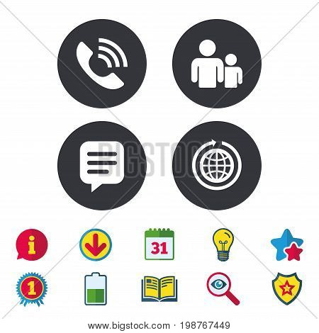 Group of people and share icons. Speech bubble and round the world arrow symbols. Communication signs. Calendar, Information and Download signs. Stars, Award and Book icons. Vector