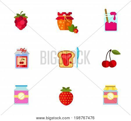 Berry jam icon set. Ripe Fresh Raspberry Cloudberry Jam Jar With Spoon Jam Jar With Paper Jam On Bread And Knife Cherry Strawberry