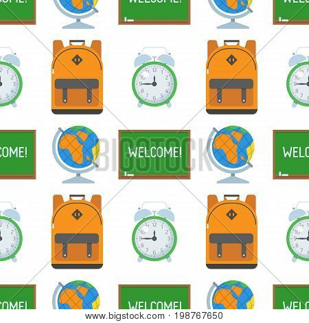 Basic education seamless background with schoolbag, chalkboard, globe and alarm clock. Back to school pattern with study and learning icons.