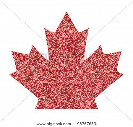 Sign red canada maple leaf stipple design. Vector illustration