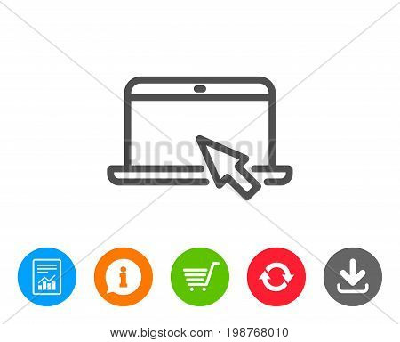 Laptop computer icon. Notebook with mouse cursor sign. Portable personal computer symbol. Report, Information and Refresh line signs. Shopping cart and Download icons. Editable stroke. Vector