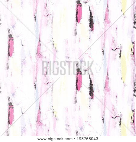 Abstract soft pastel color brushstrokes bold seamless pattern. Neon pink and gray colors white background.