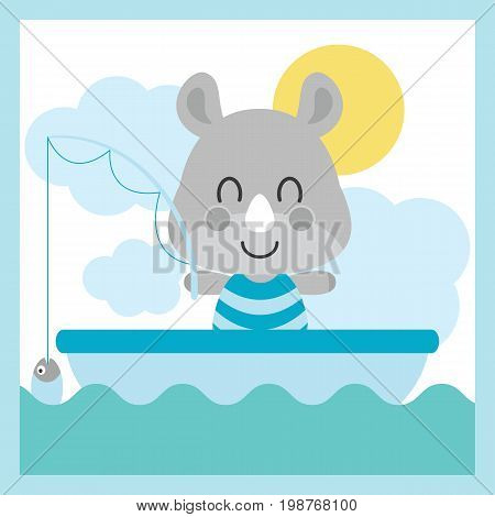 Cute baby rhino is fishing on the sea vector cartoon illustration for baby shower card design, kid t shirt design, and wallpaper