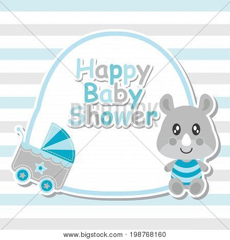 Cute baby rhino and baby cart on frame vector cartoon illustration for baby shower card design, postcard, and wallpaper