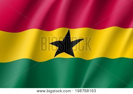 Ghana flag. National patriotic symbol in official country colors. Illustration of Africa state waving flag. Realistic vector icon