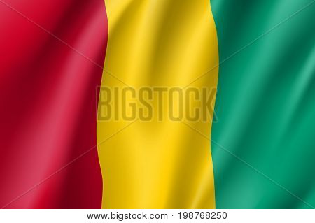 Guinea flag. National patriotic symbol in official country colors. Illustration of Africa state waving flag. Realistic vector icon