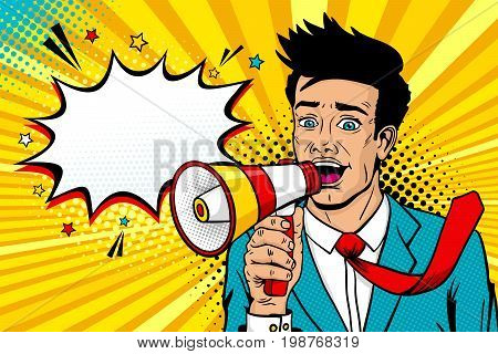 Wow pop art male face. Young handsome man with open mouth flying tie megaphone screaming announcement and empty speech bubble. Vector background in comic retro pop art style. Invitation poster.