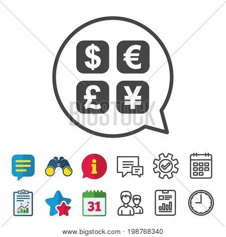 Currency exchange sign icon. Currency converter symbol. Money label. Information, Report and Calendar signs. Group, Service and Chat line icons. Vector