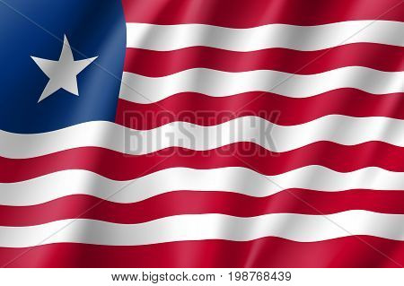Liberia flag. National patriotic symbol in official country colors. Illustration of Africa state waving flag. Realistic vector icon