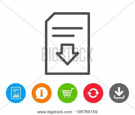 Download Document line icon. Information File sign. Paper page concept symbol. Report, Information and Refresh line signs. Shopping cart and Download icons. Editable stroke. Vector