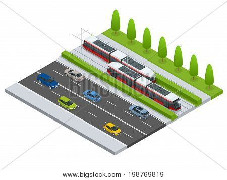 Vector isometric icon City Transport or infographic element tramway approaching tram station on the street with cars. Urban transportation vehicles.