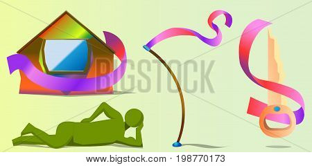 An image consisting of four different objects. Objects - a figure of a man, a colorful house, a bent stick and a key. Almost all objects have ribbons with them.