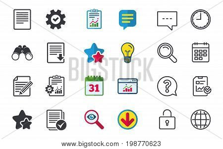 File document icons. Download file symbol. Edit content with pencil sign. Select file with checkbox. Chat, Report and Calendar signs. Stars, Statistics and Download icons. Question, Clock and Globe