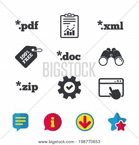 Document icons. File extensions symbols. PDF, ZIP zipped, XML and DOC signs. Browser window, Report and Service signs. Binoculars, Information and Download icons. Stars and Chat. Vector