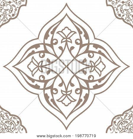 Oriental seamless pattern of mandalas. Vector black and white background. Islamic traditional ornament