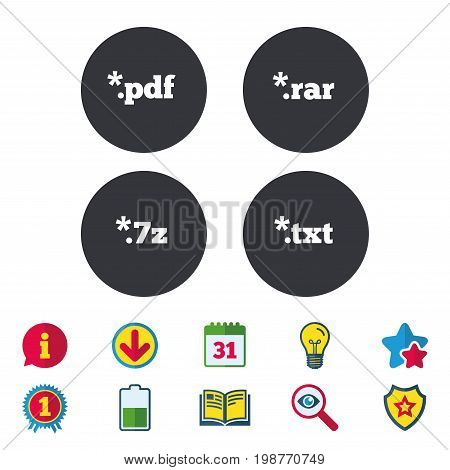 Document icons. File extensions symbols. PDF, RAR, 7z and TXT signs. Calendar, Information and Download signs. Stars, Award and Book icons. Light bulb, Shield and Search. Vector