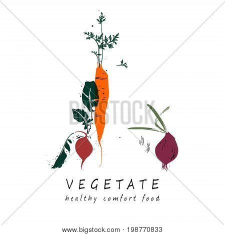 Red onion, carrot and radish with green leaves. Vector illustration.