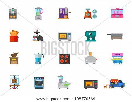 Cooking appliances icon set. Coffee Machine Blender Mincing Machine Yogurt Maker Toaster Electric Meat Grinder Microwave Oven Coffee Mill Ice Cream Cart Creating Wine Food Processor Food Truck Cooker