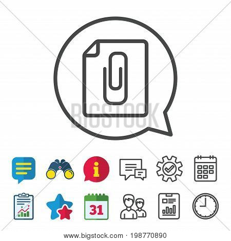 File annex icon. Paper clip symbol. Attach symbol. Information, Report and Calendar signs. Group, Service and Chat line icons. Vector