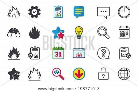 Fire flame icons. Heat symbols. Inflammable signs. Chat, Report and Calendar signs. Stars, Statistics and Download icons. Question, Clock and Globe. Vector