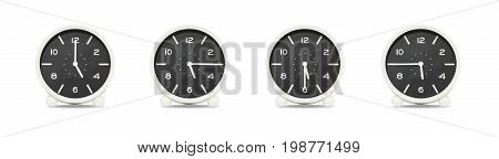 Closeup group of black and white clock for decorate show the time in 5 5:15 5:30 5:45 p.m. isolated on white background beautiful 4 clock picture in different time