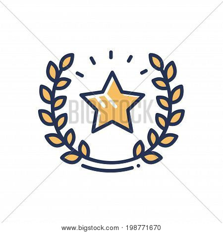 Guarantee - modern vector single line design icon. A gold star, wreath spreading rays of shining glory, safety and security on white background. Quality sign.
