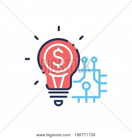 Innovation - modern vector single line design icon. Image depicting a red light bulb of idea and creativity with a dollar sign inside, blue circuit, schematics. White background.