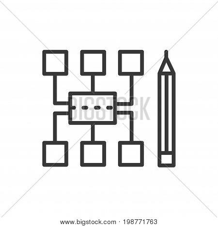 Sitemap - modern vector single line design icon. A sitemap protocol which allows webmaster to inform search engines and a pencil on a white background.