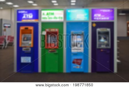 Blur or Defocus Background of Banking Machine or ATM(Automatic Teller Machine) to Deposit, Withdraw and Transfer Money.