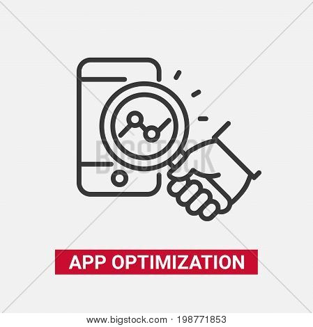 App Optimization - modern vector single line design icon. Black and white image with a mobile device, tablet, phone, hand holding a mangifying glass. Smart phone application service presentation