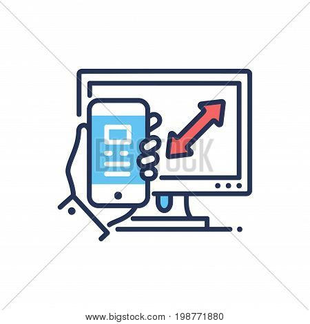 Responsive Design - modern vector single line design icon. An image depicting mobile device, phone, tablet, computer display, hand on a white background. Web page optimization presentation.