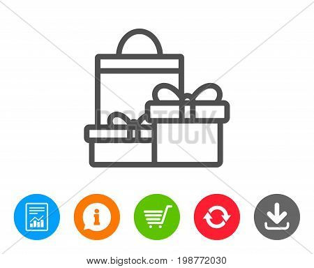 Gift boxes with bag line icon. Present or Sale sign. Birthday Shopping symbol. Package in Gift Wrap. Report, Information and Refresh line signs. Shopping cart and Download icons. Editable stroke