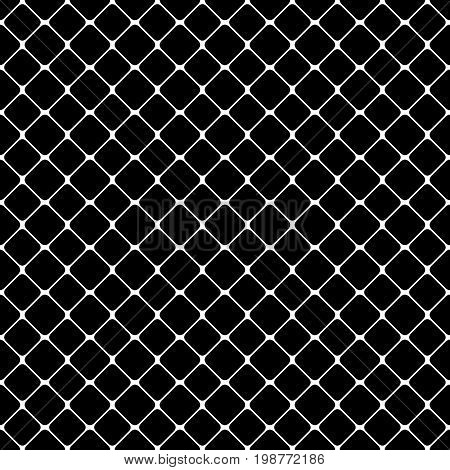 Seamless abstract monochrome square pattern - halftone vector background design from diagonal rounded squares