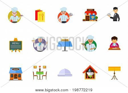 Dining in restaurant icon set. Chef, Menu Brochure Cafe Building Waiter Serving Dish Menu On Blackboard Reserved Tablet Gentleman With Napkin Eating Restaurant Building Restaurant Interior Cloche Table