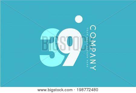 Number 39 Blue White Cyan Logo Icon Design