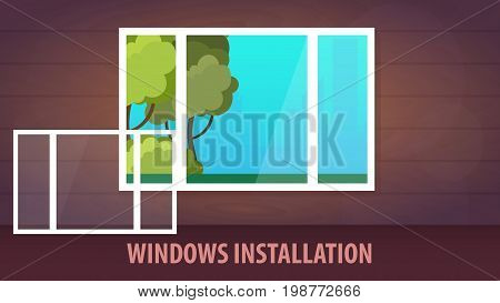 Windows Installation Banner. View From The Window. Vector Illustration.