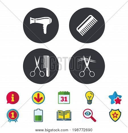 Hairdresser icons. Scissors cut hair symbol. Comb hair with hairdryer sign. Calendar, Information and Download signs. Stars, Award and Book icons. Light bulb, Shield and Search. Vector