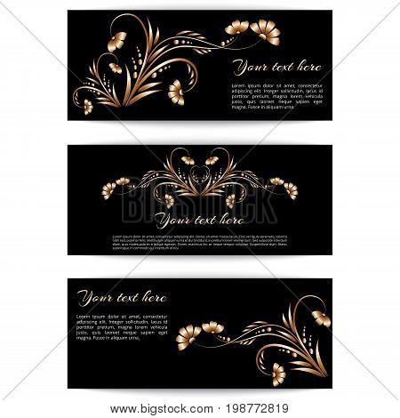 Set of horizontal banners with gold floral ornament and place for text