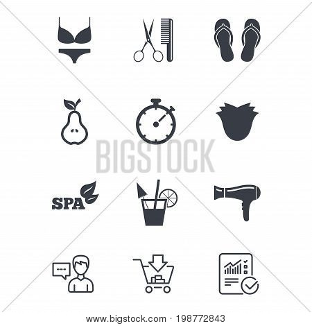 Hairdresser, spa icons. Diet cocktail sign. Lingerie, scissors and hairdryer symbols. Customer service, Shopping cart and Report line signs. Online shopping and Statistics. Vector