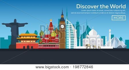 Flat Vector Web Banners On The Theme Of Travel By Airplane, Vacation, Adventure. Flight In The Strat