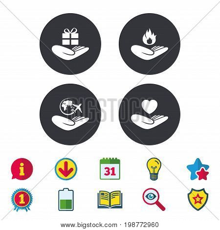 Helping hands icons. Health and travel trip insurance symbols. Gift present box sign. Fire protection. Calendar, Information and Download signs. Stars, Award and Book icons. Vector