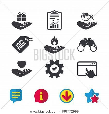Helping hands icons. Health and travel trip insurance symbols. Gift present box sign. Fire protection. Browser window, Report and Service signs. Binoculars, Information and Download icons. Vector
