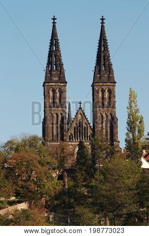 Chapter Church of St Peter and Paul on Vysehrad Prague. Vysehrad - second seat of the Bohemian princes and kings of the Premyslides dynasty founded in the 10th century