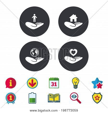 Helping hands icons. Heart health and travel trip insurance symbols. Home house or real estate sign. Calendar, Information and Download signs. Stars, Award and Book icons. Vector