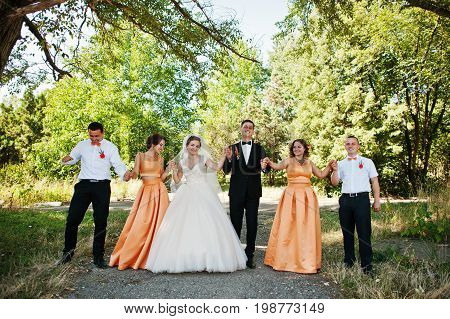 Beautiful Wedding Couple Walking And Having Fun With Groomsmen And Bridesmaids In The Park.
